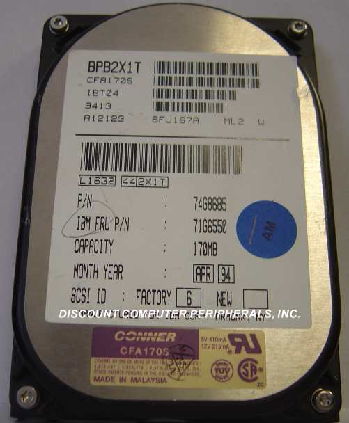 Conner CFA170S 170MB 3.5IN SCSI Drive Tested Good Free USA Shipping