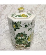 Antique, Masons, England, Green Floral 6in x 4in Prune Jar or Tea Caddy - $47.45