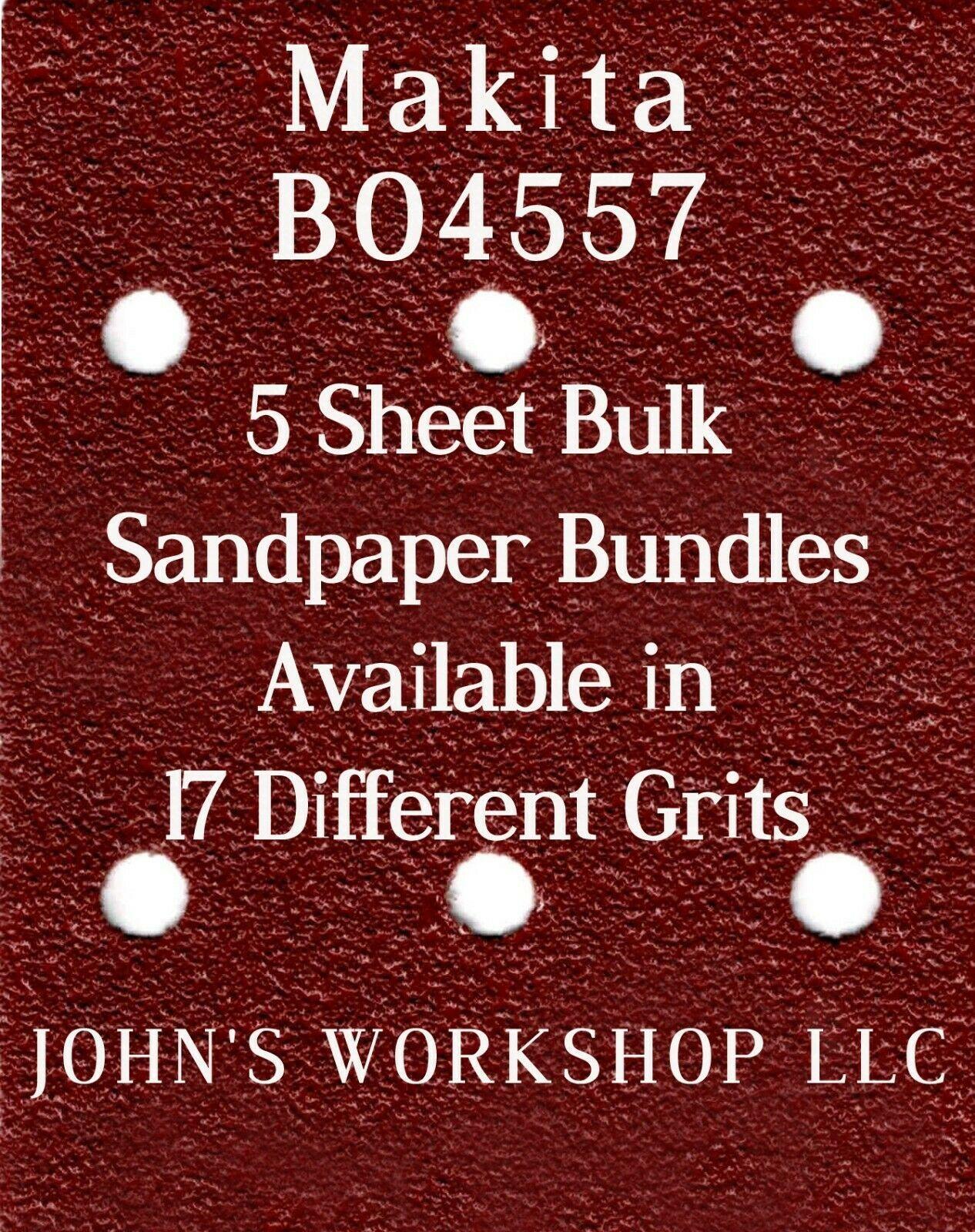 Makita BO4557 - 1/4 Sheet - 17 Grits - No-Slip - 5 Sandpaper Bulk Bundles - $7.14