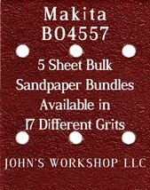 Makita BO4557 - 1/4 Sheet - 17 Grits - No-Slip - 5 Sandpaper Bulk Bundles - $7.14