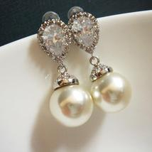 Classic Pearl Bridal Earrings - Sterling Silver Cubic Zirconia - $30.00+