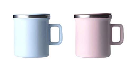 JVR Style Stainless Steel Mono Tea Coffee Blue Pink Color Mugs Cups Lid Set 360m