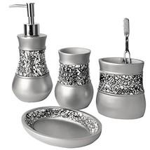 Creative Scents Gray Bathroom Accessories Set - 4 Piece Bathroom Decor Set for H