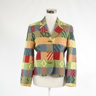 Primary image for Peach blue red geometric DONCASTER long sleeve blazer jacket 2