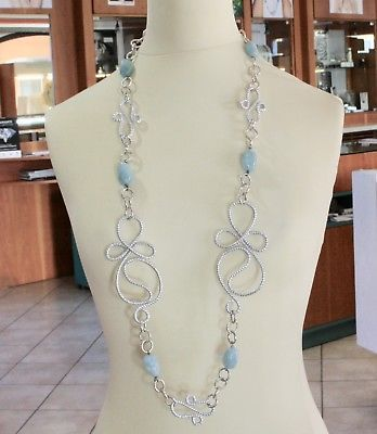 NECKLACE THE ALUMINIUM LONG 1 METRO 1 MT WITH AQUAMARINE NATURAL BLUE BLUE