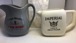 Vintage 1960's Hiram Walker Pitchers 2 Grey White Ten High Imperial Barware - $35.61