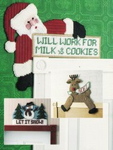 Plastic Canvas Xmas Ho Ho Working Santa Guardian Angel Reindeer Snowman ... - $13.99