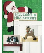 Plastic Canvas Xmas Ho Ho Working Santa Guardian Angel Reindeer Snowman Patterns - $13.99