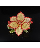 Christmas Holiday Red Enameled Poinsettia Gold Plated Mesh Brooch Pin #215 - $14.84