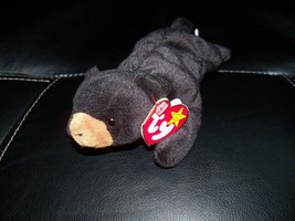 TY BEANIE BABY BLACKIE THE BEAR PVC PELLETS NEW LAST ONE FREE USA SHIPPING - $26.55