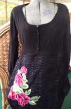 DESIGUAL Funky Embellished  Black Embroidered  Flowers Dress eu 40 8 10 ... - $49.50