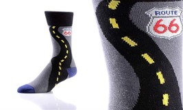 Yo Sox Men's Crew Sock - Route 66 -Fits Size 7- 12 - Blend of Cotton & Nylon