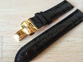 New black leather strap Watchband for Tissot Visodate T019430 20mm golde... - $38.61