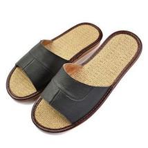 Unisex Linen Slippers Genuine Leather Summer Indoor Home Footwear Access... - $20.99