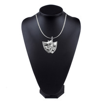 Theatrical Mask on a 18 inch platinum chain necklace jewelry G07 - $12.97