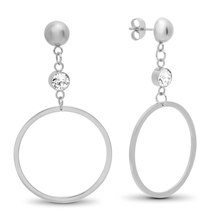 STEELTIME Stainless Steel round drop earrings adorned with Swarovski cry... - $22.99