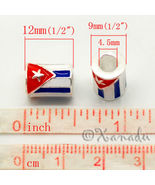 Flag Of Cuba European Bead - Cylindrical Cuban Flag For European Charm B... - $16.00