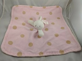 Blankets & Beyond White Rabbit Lovey Security Blanket Pink Tan Stuffed A... - $8.95