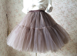 Lady MESH TULLE SKIRT Knee Length Layer Tulle Skirt Princess Skirt Crinolines  image 4