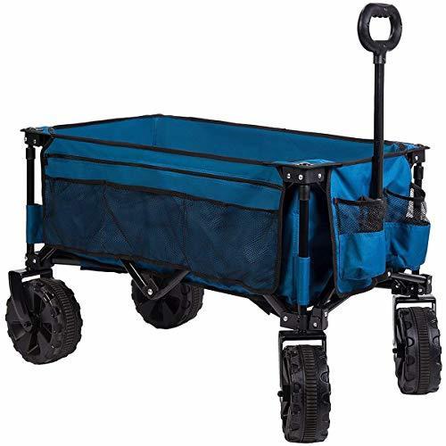 Timber Ridge Folding Camping Wagon/Cart - Collapsible Sturdy Steel Frame Garden/