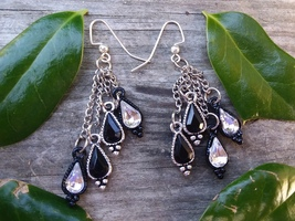 Black and Silver Rhinestone Waterfall Dangle Earrings - $10.00