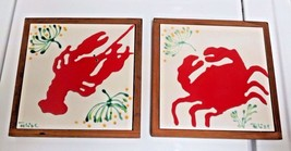 Trivet hot pot plate holders Crab & Lobster ready to hang lot of 2 - $19.99
