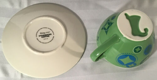 Starbucks Coffee HOLIDAY 2006 12oz Cup & Saucer Set 2Pc Green Blue Stocking image 5