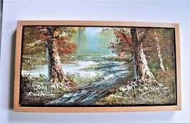 """Oil Painting, Approx. 12"""" x 24"""" canvas . Solid Oak Floating Frame. Shelt... - $399.99"""