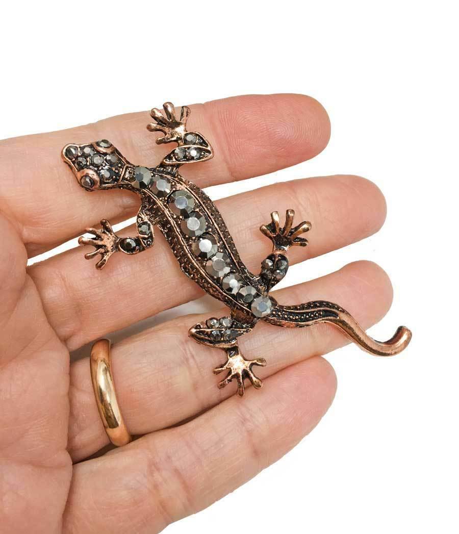 "2.75"" Tall Copper Tone Simulated Hematite Rhinestones Gecko Lizard Brooch, Pin  - $10.45"