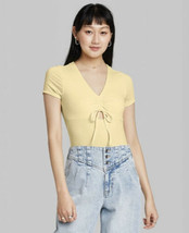 NWT Women's Wild Fable S/S Cinched Front Bodysuit in Yellow Size Large - $9.89