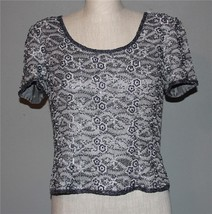Adrianna Papell Grey w/ Black Beads Floral Silver Embroided Lined Top Wms 10P - $34.99