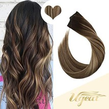 Ugeat 18inch One Piece Hair Extensions Clip in Real Human Hair #4/27/4 Balayage  image 1