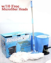 Two Way 360° Easy Spin Rotate Magic Mop Mopping w/Bucket &10 Microfiber ... - $44.56