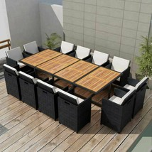 vidaXL Outdoor Dining Set 37 Piece Wicker Poly Rattan Black Glass Table ... - $1,048.99