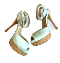 Jessica Simpson Roxee Heels 7.5 Cork Stiletto Patent Mint Green Platform Shoes - $34.64