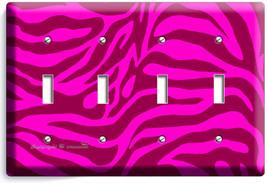 Hot Pink Zebra Stripe Animal Print 4 Gang Light Switch Wall Plate Room Art Decor - $16.19