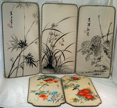 5 Chinese Silk Paintings Stretched with Wire rims Flowers Bamboo Birds - $19.99