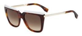 Fendi FF0087 CUM 53MM White Havana Gold Sunglasses Brown Gradient Lens New Italy - $148.49