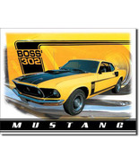 Ford Boss 302 Yellow Mustang Muscle Car Metal Sign - $18.95