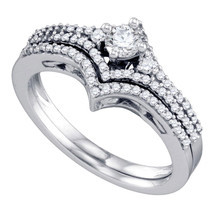 14k White Gold Round Diamond Bridal Wedding Engagement Ring Band Set 1/2... - £770.00 GBP