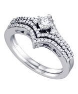 14k White Gold Round Diamond Bridal Wedding Engagement Ring Band Set 1/2... - $959.00