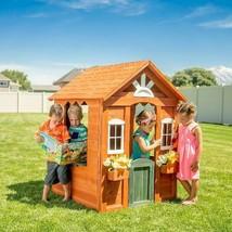 Kids Outdoor Wooden Playhouse Working Front Door Backyard Children Play ... - $227.85