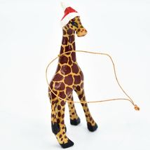 Hand Carved Painted Jacaranda Wood Santa Hat Giraffe Safari Christmas Ornament image 4