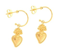 "18K YELLOW GOLD PENDANT EARRINGS, SACRED HEART OF JESUS, LENGTH 34mm 0.13"" image 1"