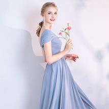 DUSTY BLUE Bridesmaid Dress 2019 Summer Chiffon Dusty Blue Bridesmaid Maxi Dress image 5