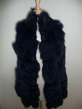 Jocelyn Bicolor Black Navy Roadie Fox Fur Vest New $1.1 image 5