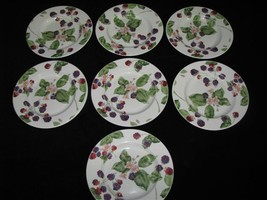 Lot of 7 Tienshan RASPBERRY SOCIAL Salad or Luncheon Plates - - $49.99