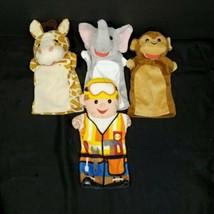 Hand Puppet Giraffe Elephant Monkey Handyman Helper Plush Lot Of 4 Stuffed - $17.81