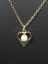 MY LOVE  Cultured Pearl on Heart Goldtone Chain Necklace Sarah Coventry RARE - $33.97