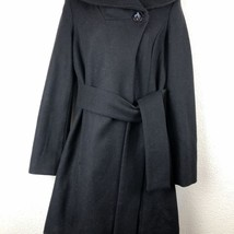 Merona Black Wool Blend Belted Dramatic Wide Collar Trench Pea Coat Wome... - $58.56